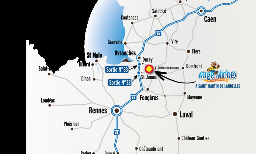 Plan d'accès au parc Ange Michel en voiture